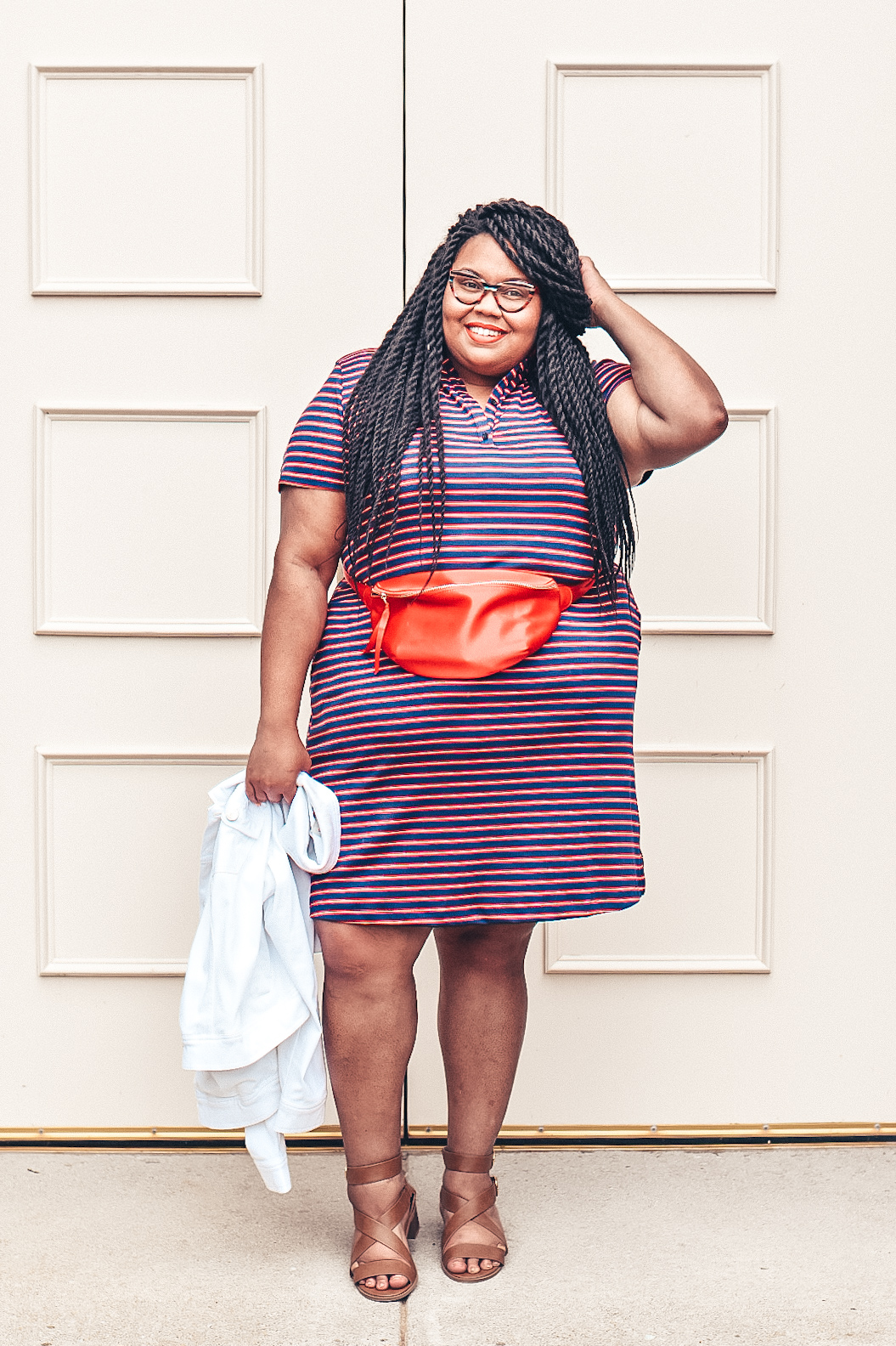 Red and Blue Stripe Plus Size Dress