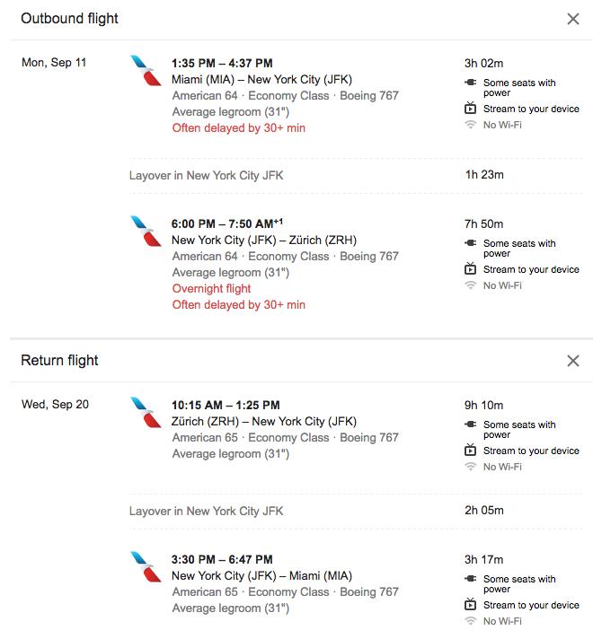 Miami to Zurich $355 Roundtrip