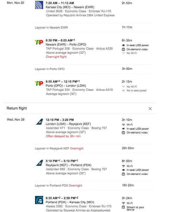 Google Flights - $910