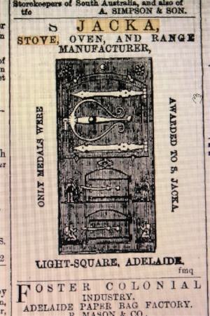 1871 advertisement for jacka stoves. see ref 2