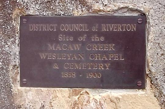 plaque at macaw creek wesleyan chapel site
