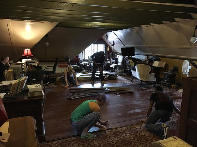 Some of the crew building the attic set earlier today for this weekend of filming!  #thesecretof40film