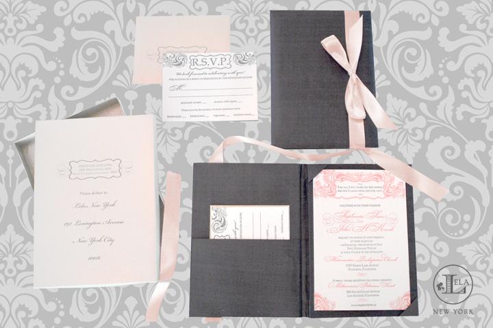 Blush & Platinum Silk Invitation | Stephanie & John
