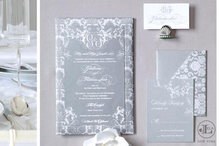 Silver Silk Invitation   Giuliana & Francis
