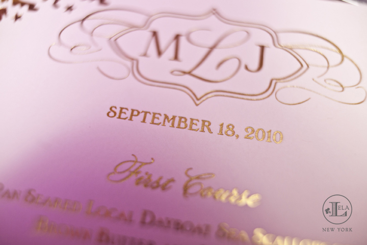 Closeup of gold and blush menu