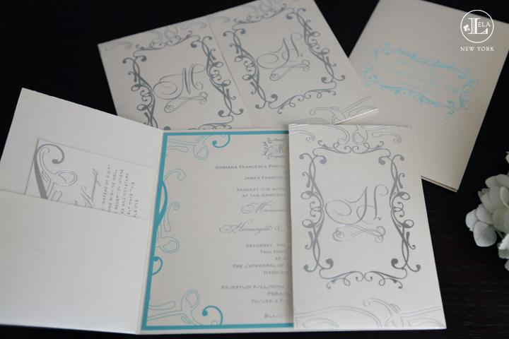 Silver & Blue Gatefold Invite | Marianna & Herman