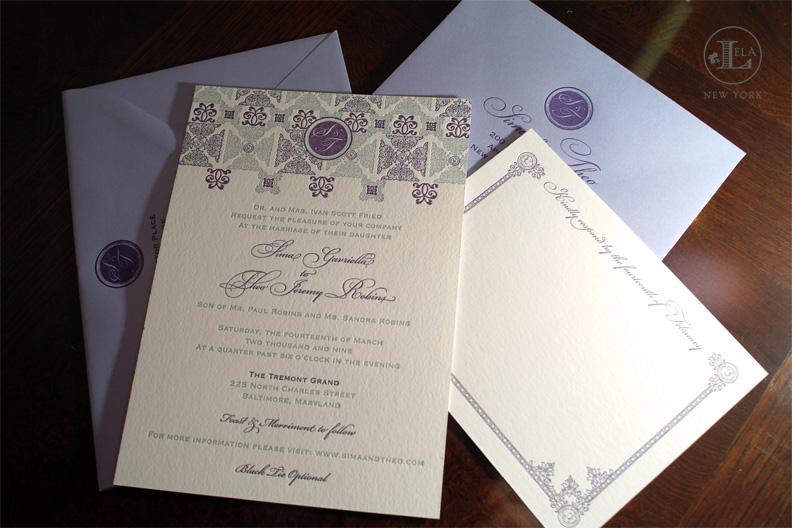 Letterpress Invitations | Sima & Theo