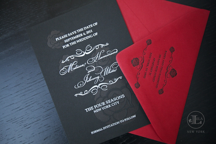 Black & Red Save the Date | Melissa & Johnny