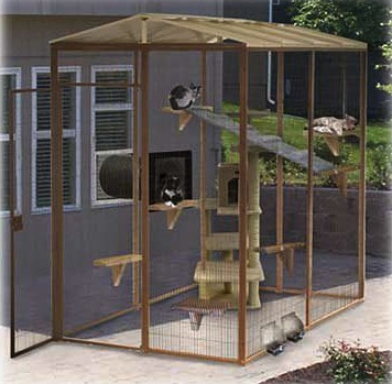 A cat enclosure connected to the house.