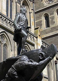 This statue is in Melbourne, Australia, near Flinders Street and is named for Matthew Flinders