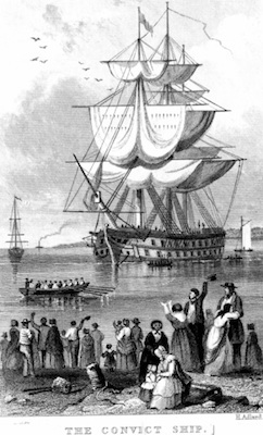 Illustration of a convict ship about to depart for Australia. ©Getty Images