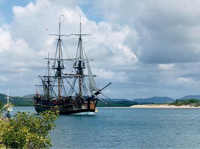 A replica (copy) of Captain Cook's ship Endeavour