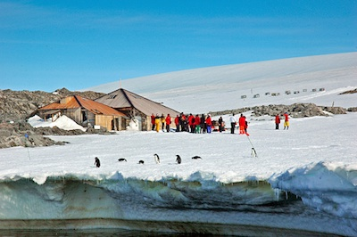 Summer visitors to Mawson's hut. ©Getty Images