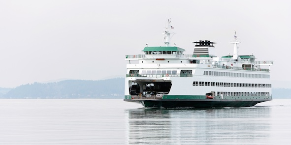 At the front of this ferry there is a ramp that can be raised and lowered to let cars drive on and off.Getty Images