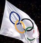 The Olympic flag designed by Pierre de Coubertin