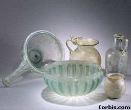 This ancient glass was found in the ruins of the ancient Roman city of Pompeii