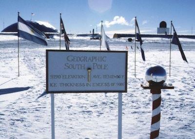 This is the ceremonial South Pole, ringed by the flag of each country that signed the Antarctic Treaty. ©Getty Images