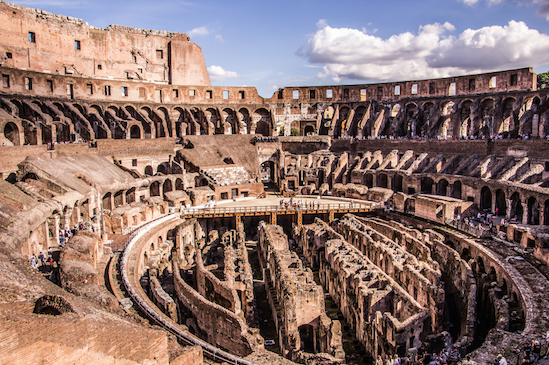 Inside the Colosseum. You can see where gladiators and wild animals waited, below the floor, before their event. © Getty Images