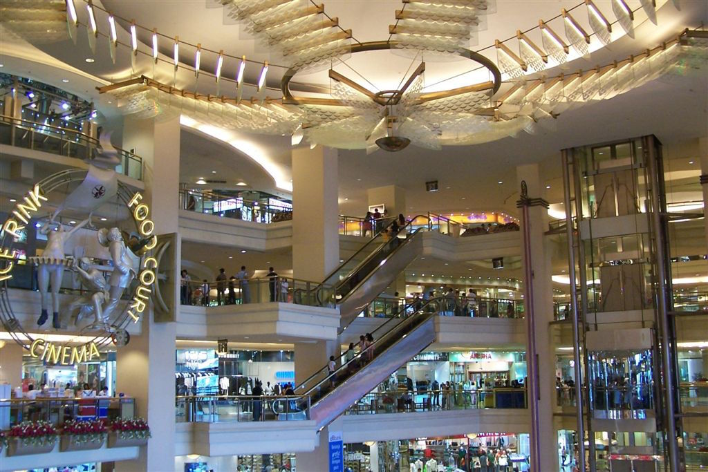 Modern shopping malls are popular places to shop and eat.
