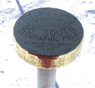 The geographic South Pole marker is moved each year because the glacier on which it is located moves each year. ©Getty