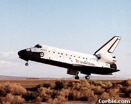 On its return to Earth, the shuttle lands like an aeroplane.
