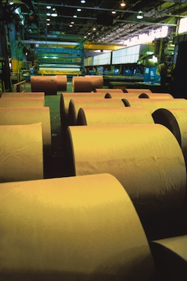 Huge rolls of paper in a modern factory. ©Getty Images