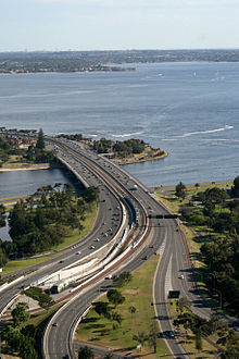 The new Narrows Bridge is both a railway bridge and a freeway.© Getty Images