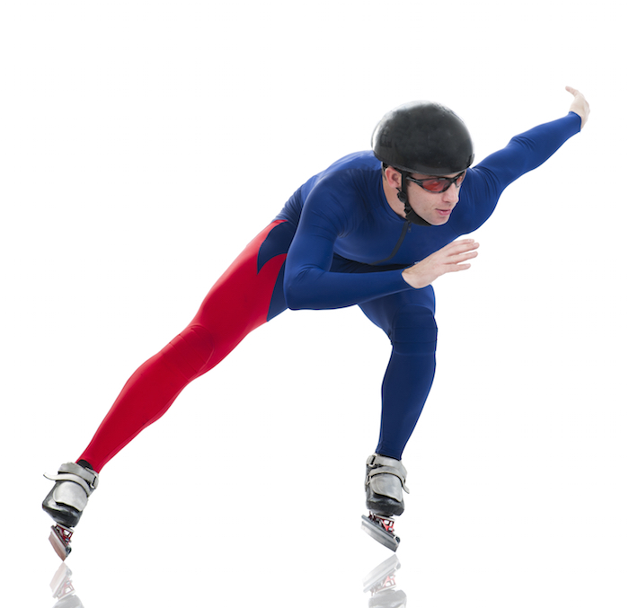 In indoor racing events, speed skaters wear helmets and close-fitting clothing. Getty