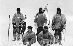 Scott and his team at the South Pole- standing L-R Oates, Scott, Evans; sitting L-R Bowers, Wilson ©Getty Images
