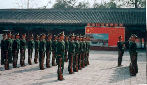 Soldiers prepare for guard duty in Tian'anmen Square (kidcyber)