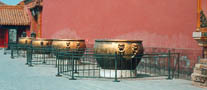 Urns like these are found in all parts of the Forbidden City. They were kept filled with water in case of fire.Photo©kidcyber