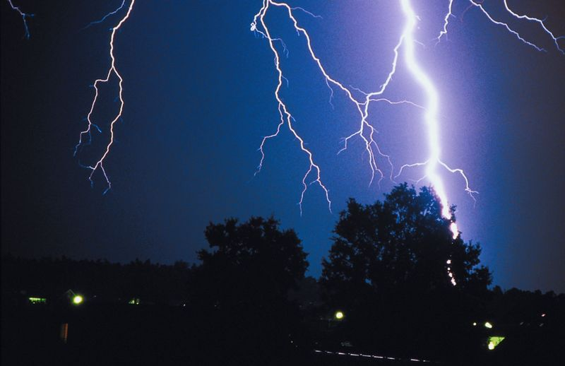 Thunder and lightning occur naturally as part of a thunderstorm. Whenever you hear thunder there is the danger of a lightning strike. © Getty Images