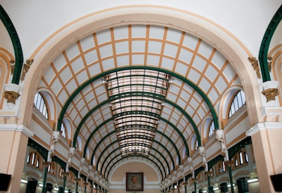 Ceiling inside the Saigon Central Post Office. Image©iStock