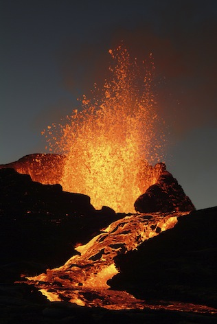 Liquid magma is called lava when it pours out of a volcano. Getty Images