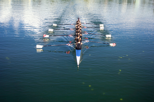 The extra crew member in an eight person crew is the coxswain © Getty images