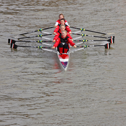 A quadruple scull has four rowers  without  a coxswain. ©Getty Images