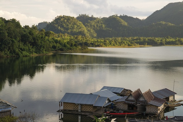 A village nestled by and on a lake. ©Photos.com