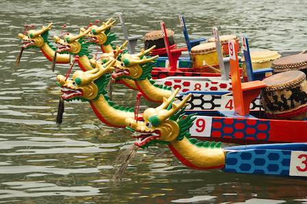 Dragon boats can be 30 metres long and have 80 rowers. © Getty Images