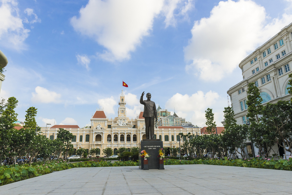 The Peoples Committee Building, or the City Hall was built in 1902 - 1908 in French colonial style. It is located at the end of a popular pedestrian walking street. The standing statue is of President Ho Chi Minh
