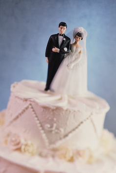 Sometimes there is a tiny bride and groom on top of a wedding cake