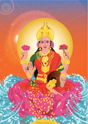 As you can see by the gold coins, Lakshmi is believed to bring wealth. Image©iStock