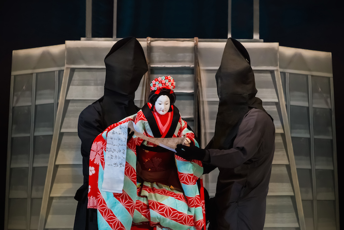 A Japanese bunraku puppet elaborately dressed in traditional kimono. ©Gett