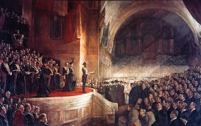 A painting by famous Australian artist Tom Roberts of the  first Australian Parliament being opened in 1901 by the Duke of York and Cornwall, who later became King George V.