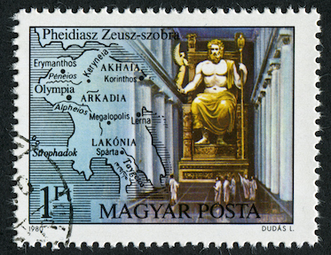 A stamp design showing a statue of Zeus in his temple at Olympia. ©iStock