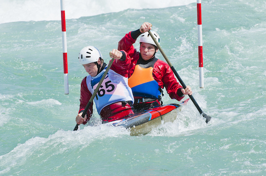 Doubles kayak slalom event. The athletes must pass through a series of gates. ©iStock