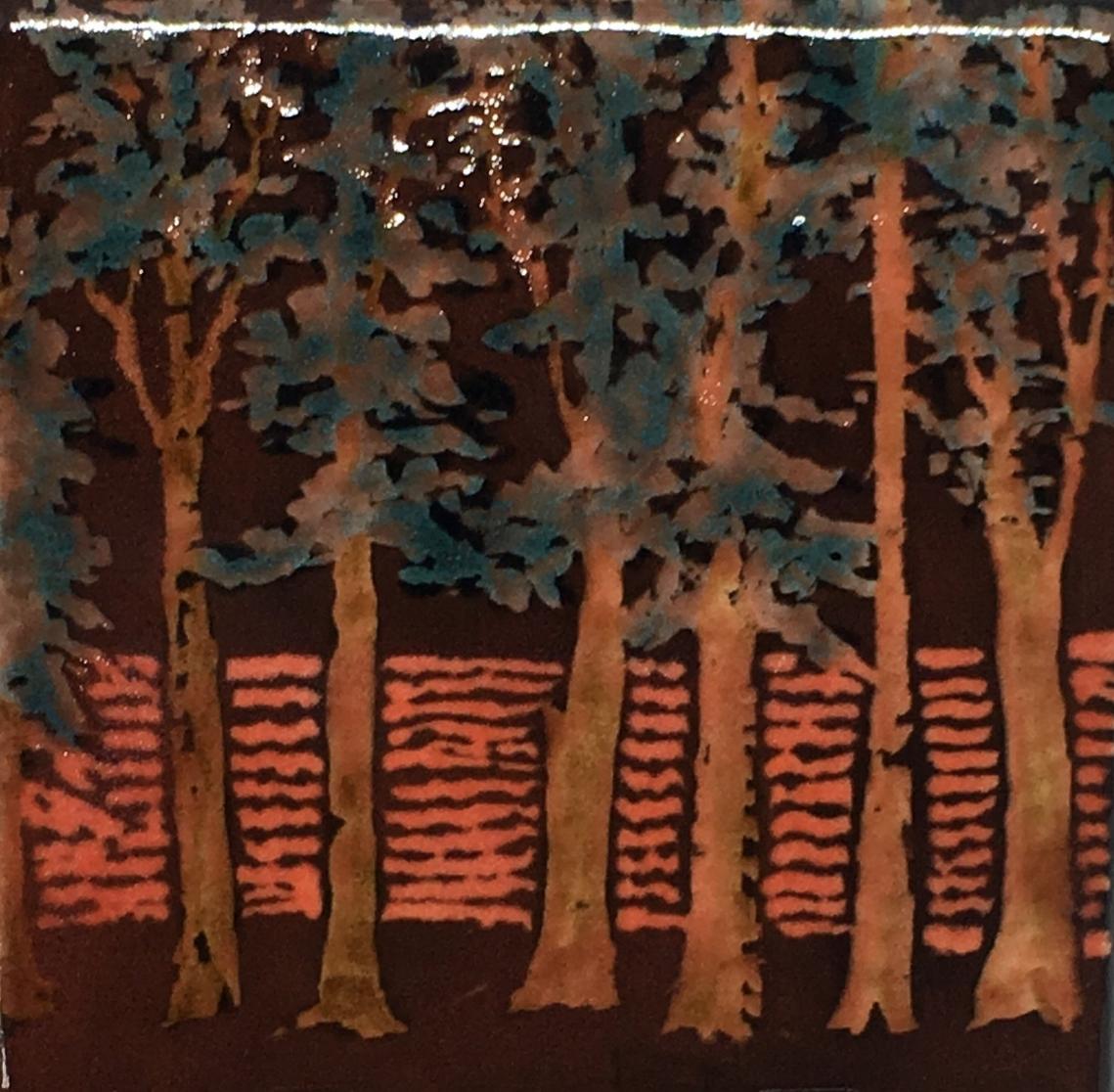 "6x6"" Decorative Ceramic Tile Painting in Sgraffito   $35"