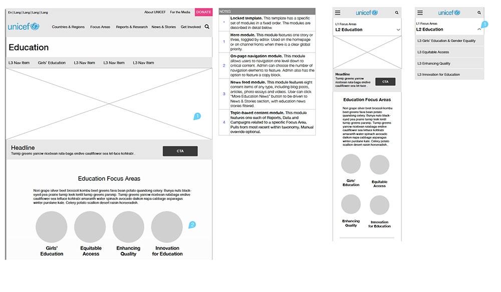 Wireframes for UNICEF HQ's digital transformation