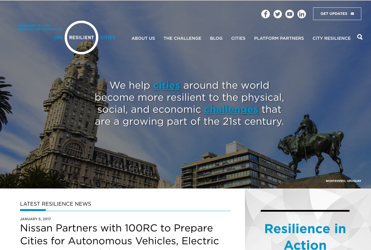 100 Resilient Cities website