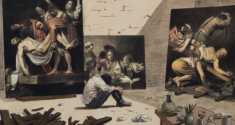 Caravaggio and his paintings, The Palette and The Sword .
