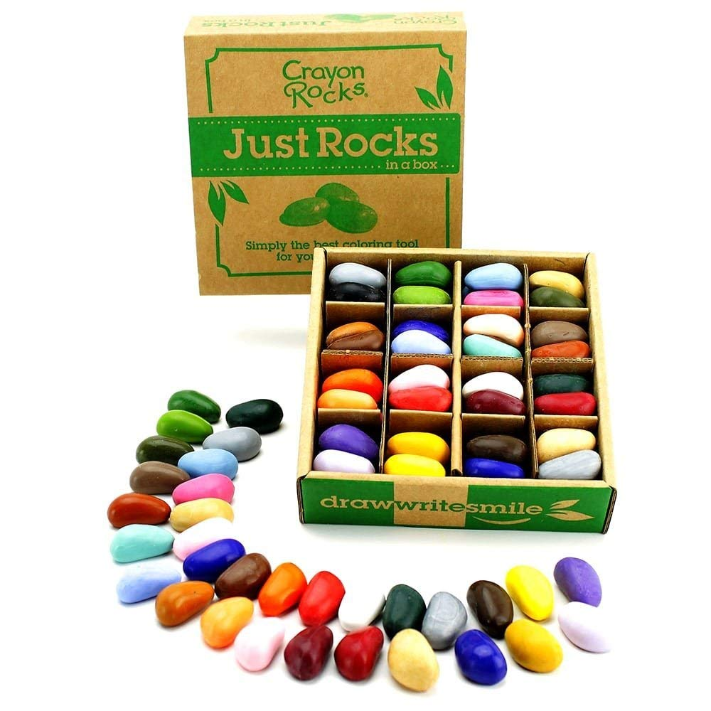 Crayon rocks - My sister gave my kids a set of these, and we love them! I recently learned that you don't want to give your kids regular crayons and markers at too young of an age because it could spoil their pincer grip, and that can be something that takes a while to correct. With these crayon rocks, it helps them naturally develop their pincer grip because of how the rock has to be held. Love the range of colors on these and the colors go on really nice and pigmented.